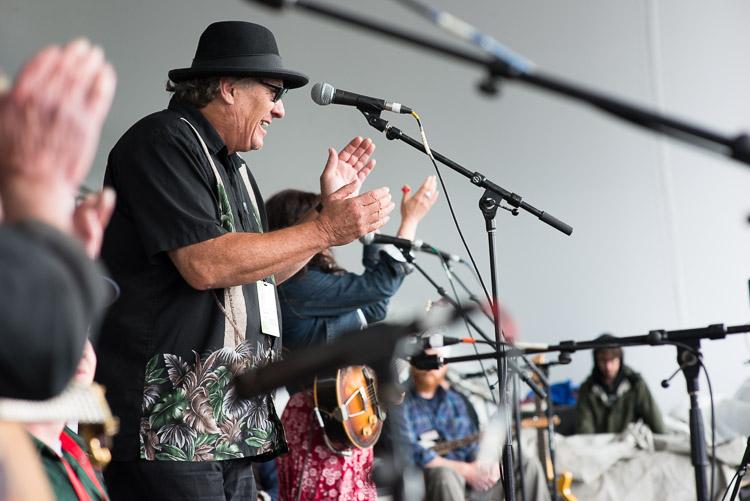 Big Dave McLean hops on stage