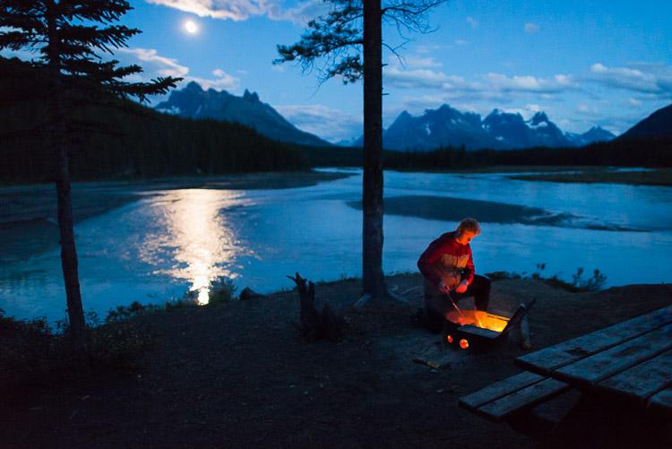 Big Bend camp - bonfire in Jasper's backcountry under a full moon