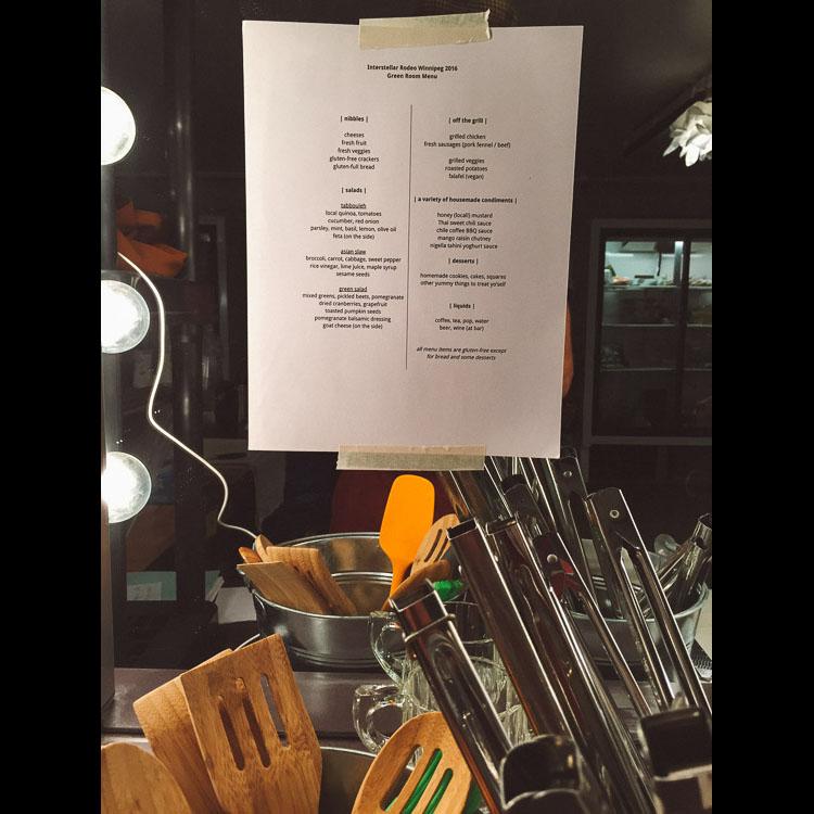 The Green Room menu