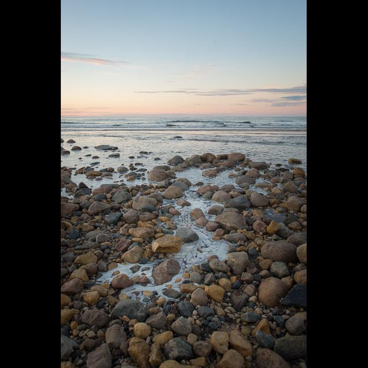 The Hudson Bay coast at sunset