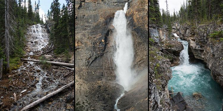 Waterfall triptych - Point Lace Falls, Takakkaw Falls, and Beauty Creek