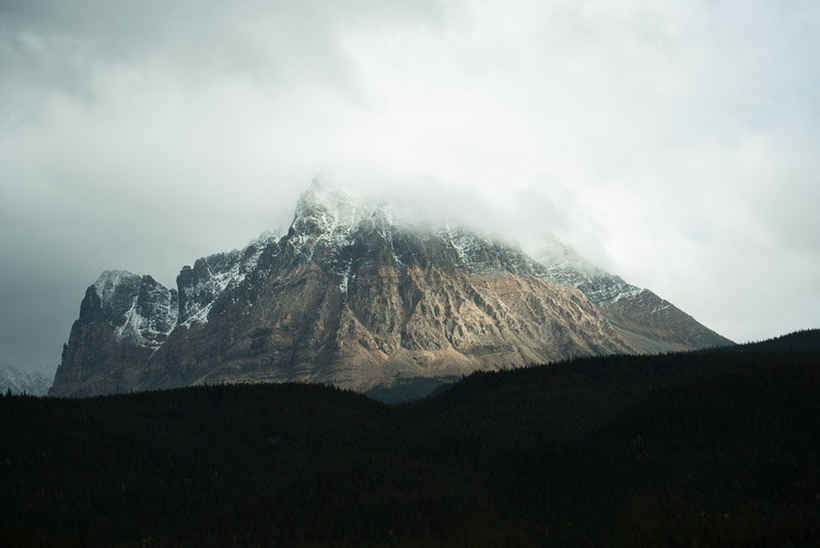 Snow dusted peak of a Jasper mountain