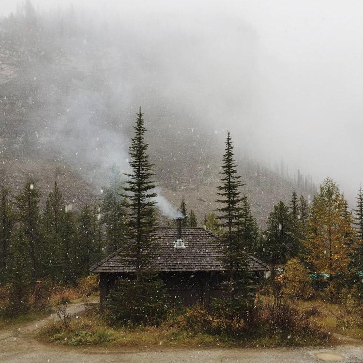 Yoho cooking shelter at Takkakaw Falls - first snowfall