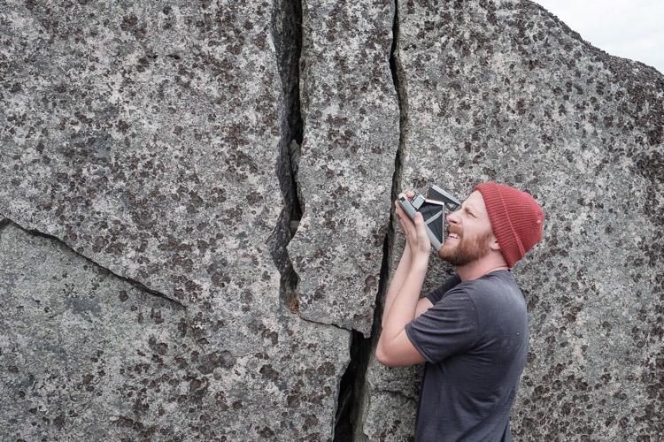 Daniel Crump and his Polaroid camera