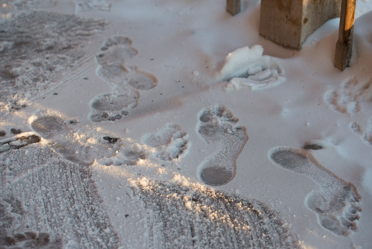 Bare footprints in snow.