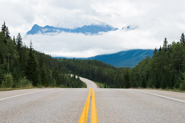 Open road on the Icefields Parkway