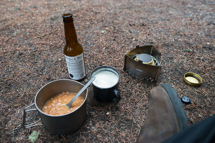 Eating on the ground of camp