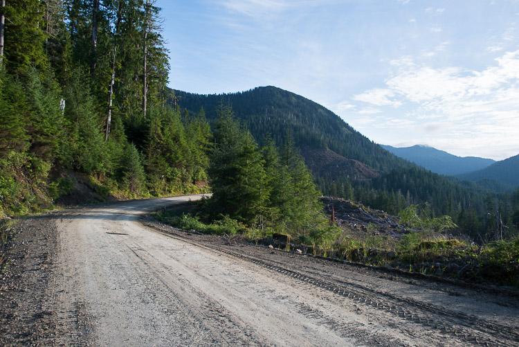 Logging road through Haida Gwaii mountains to Rennell Sound