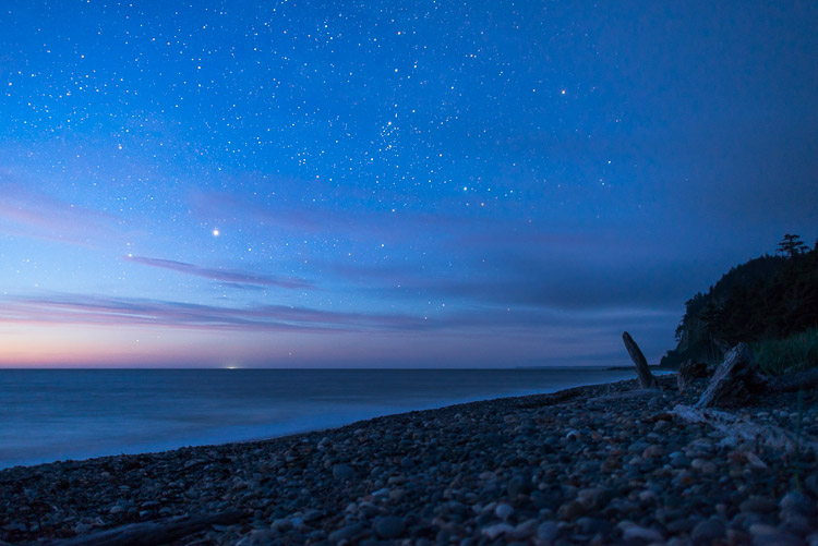 Night sky at Agate Beach (Tow Hill) with distant Alaska lights