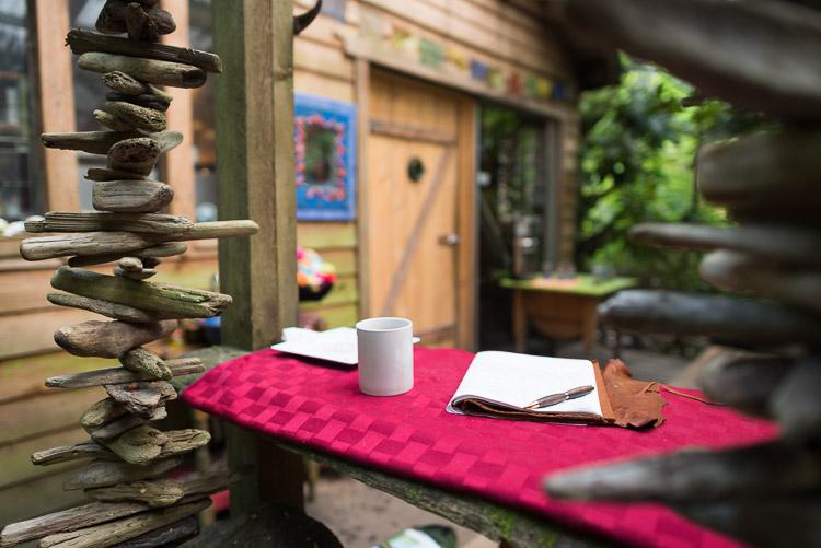 Journaling on Moon Over Naikoon patio