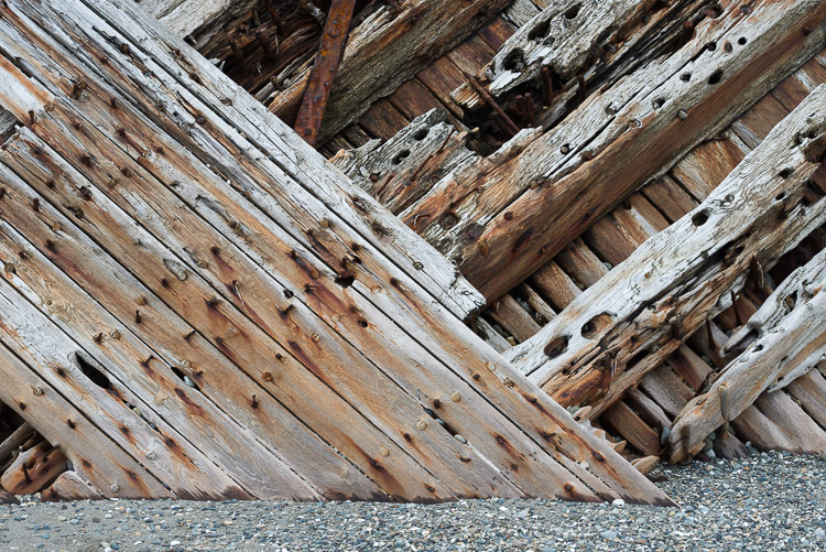 Worn wood of the Pesuta shipwreck