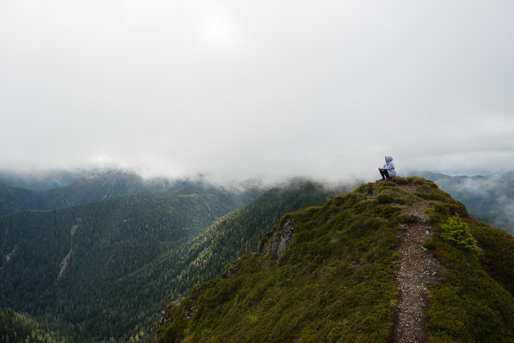 Silhouette on Mount Genevieve summit