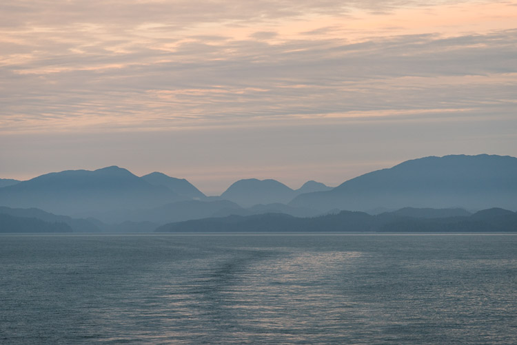 Sunset on the Inside Passage over the ferry wake
