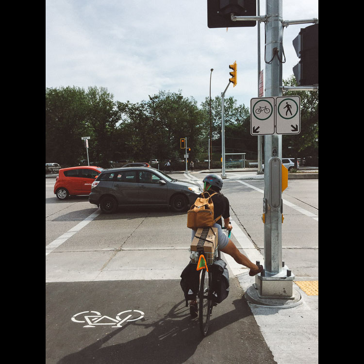 Cycling to The Forks with a full load