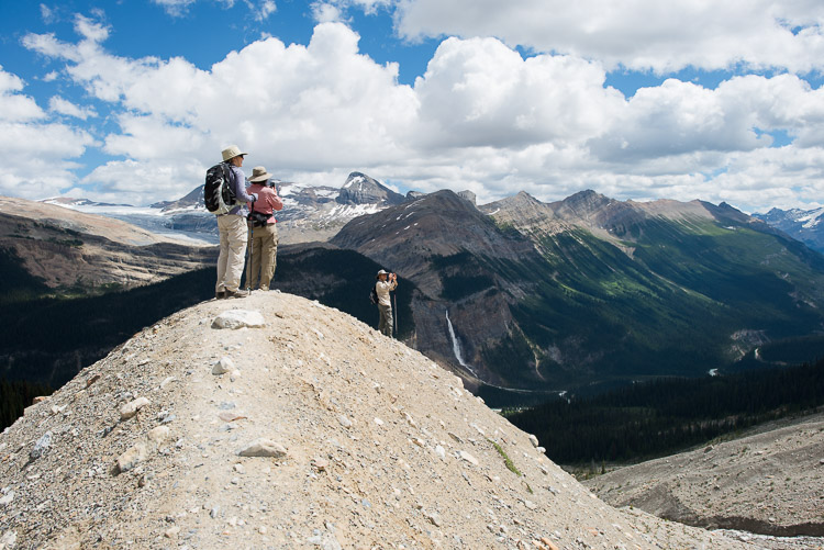 Tourists taking in the view on the Iceline hiking trail