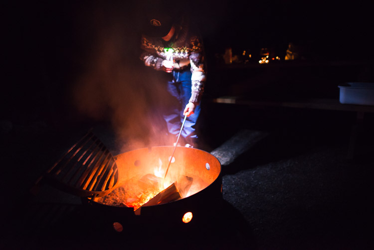 Cooking over an autumn campfire