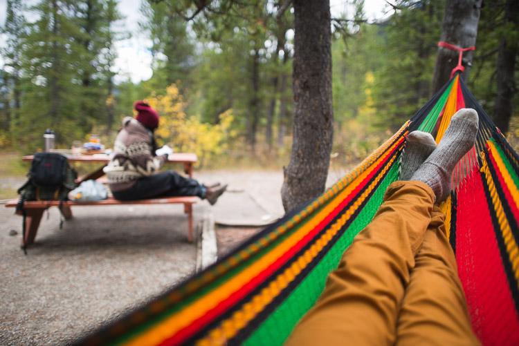Autumn hammock at camp