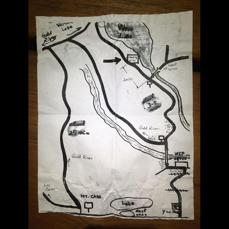 Hand-drawn Woss Lake Campground Map