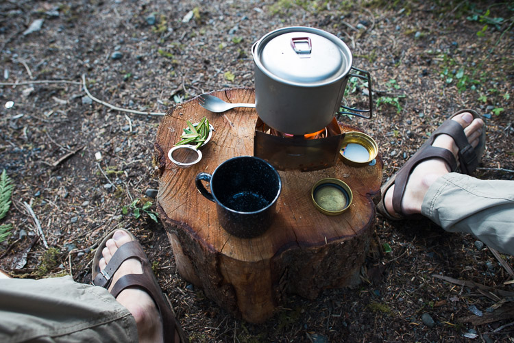 Cooking dinner on a stump in the wilderness