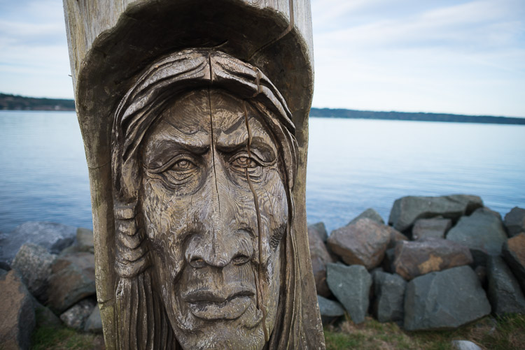 Old man's face carved into tree at Campbell River