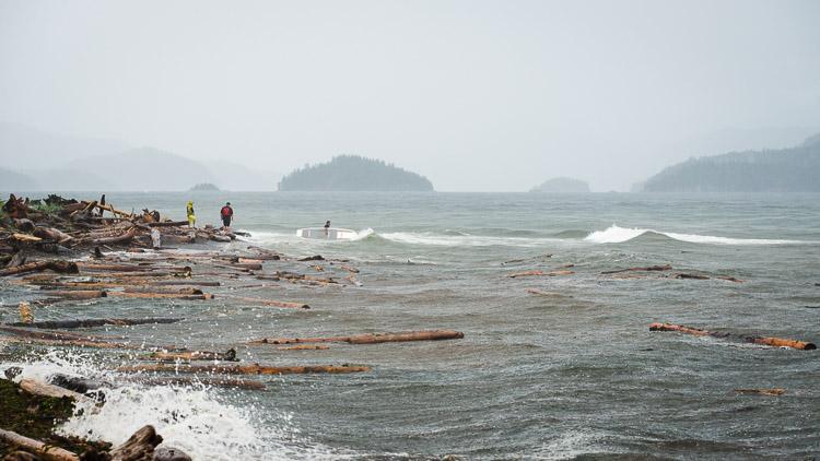 West coast surfers at Rebecca Spit, Quadra Island