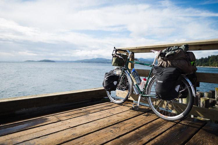 Bicycle touring the Sunshine Coast - on pier