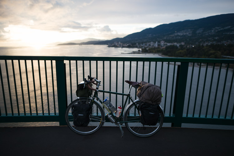Touring bike on Lions Gate Bridge