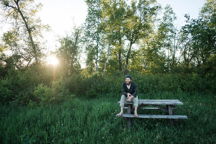 East Deep Lake camp - picnic table amidst long grass