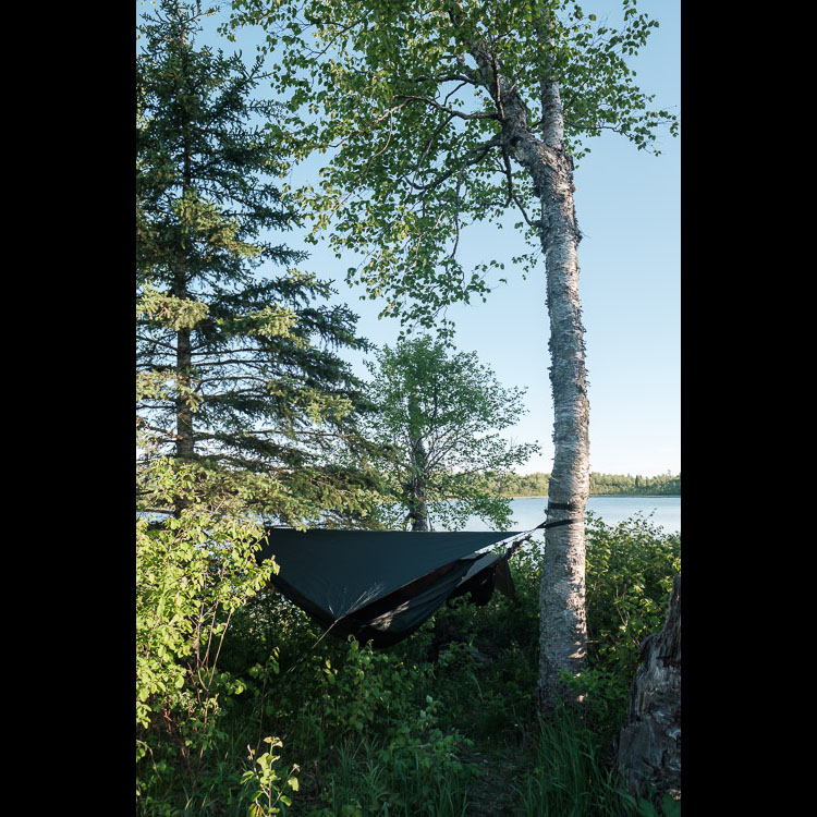 Hammock camping along East Deep Lake in Riding Mountain National Park