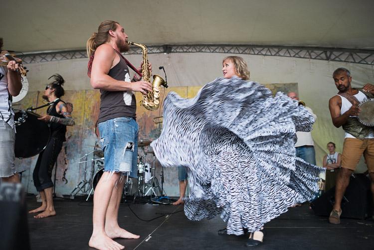 Lemon Bucket Orkestra - Saxophone and twirling dancer