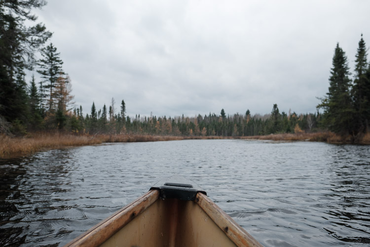 Moody weather as seen from the canoe bow