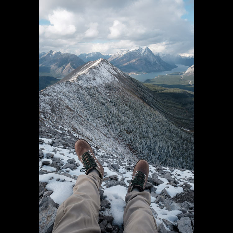 High above Spray Lakes hiking/scrambling